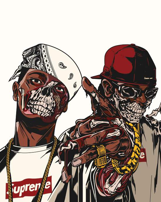 Tribe undefeated on behance - Blood gang cartoon ...