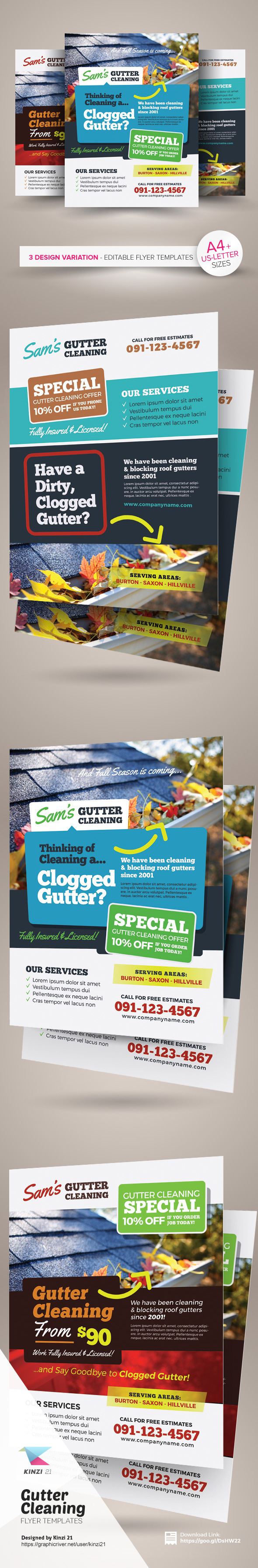 gutter cleaning flyer templates on behance gutter cleaning flyer templates are fully editable design templates created for on graphic river more info of the templates and how to get the