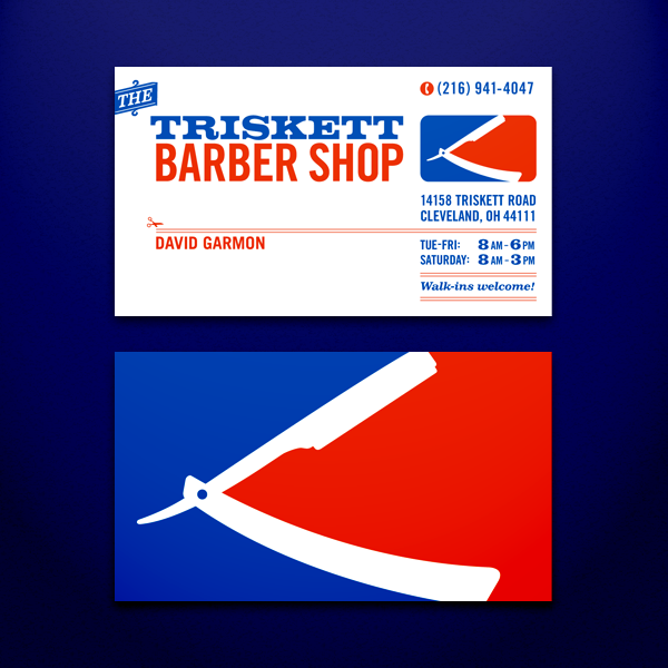 Triskett barber shop business cards on behance these are business cards front and back that i designed for a friends barber shop in cleveland ohio colourmoves Image collections