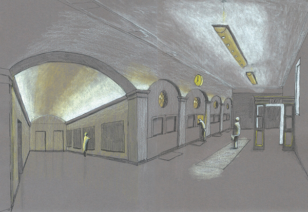 Student Work: New Lighting Concept Sketch For Post Office, Troy NY