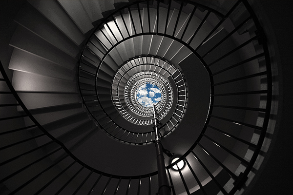 SKY Spiral color clouds stairs Exit escape