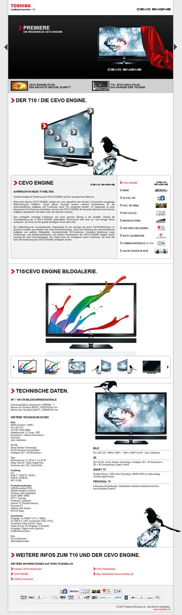 Toshiba Cevo Engine - Website / Screendesign on Behance