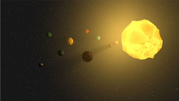 Low poly solar system planets on Student Show