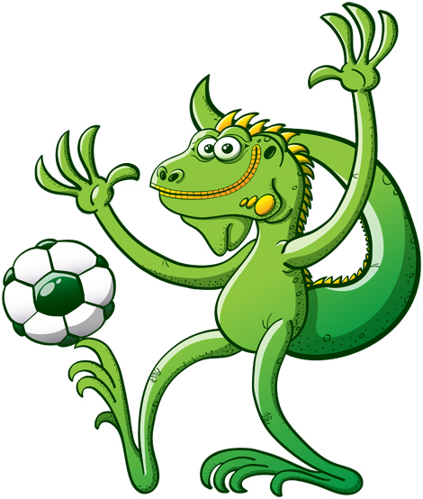 Green iguana keeping balance while playing with a soccer ball