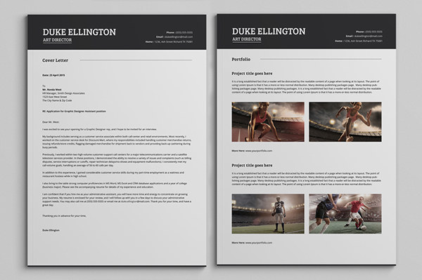 Two Pages Classic Resume CV Template On Wacom Gallery