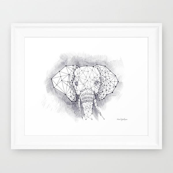 illustrat draw animal elephant print tshirt pillow iphone case cover Clothing digital Low Poly polygon artwork