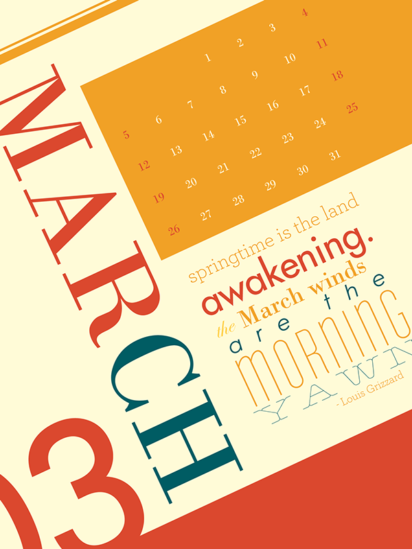 typographic calendar on behance