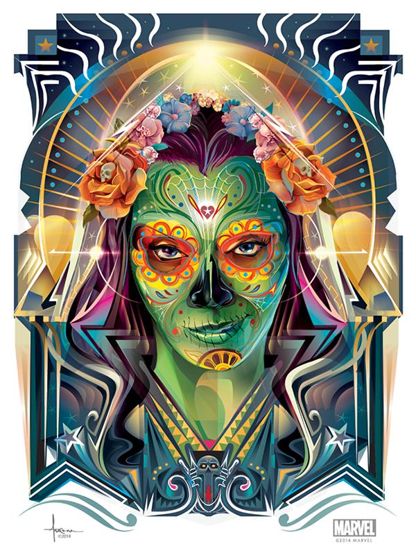 vector Illustrator adobe wacom movie starlord gamora guardians galaxy sugarskull Flowers day dead muertos Halloween