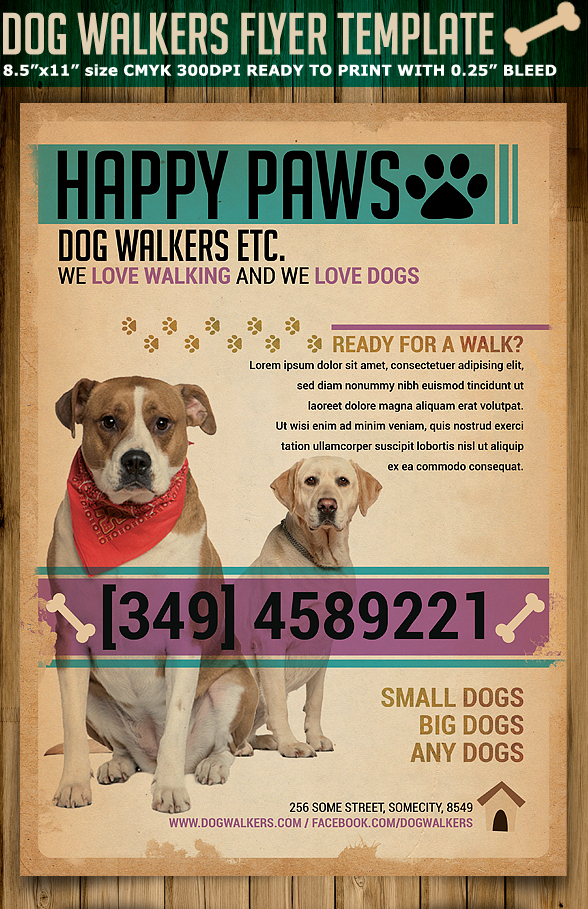 Dog walkers flyer template on behance maxwellsz