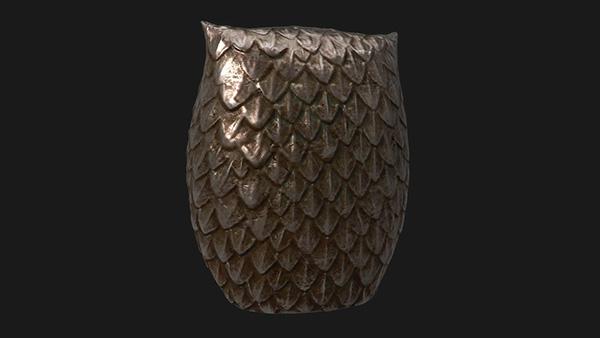 3D Sculpt owl metal bronze