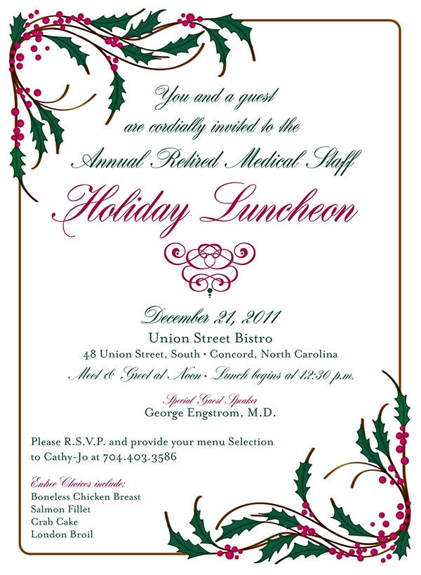 christmas luncheon invitation
