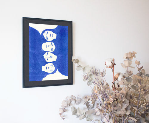 sisterhood Riso print risograph blue gouache Montreal painting   ILLUSTRATION  women