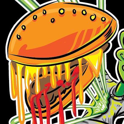 alien burger gutbuster hamburger