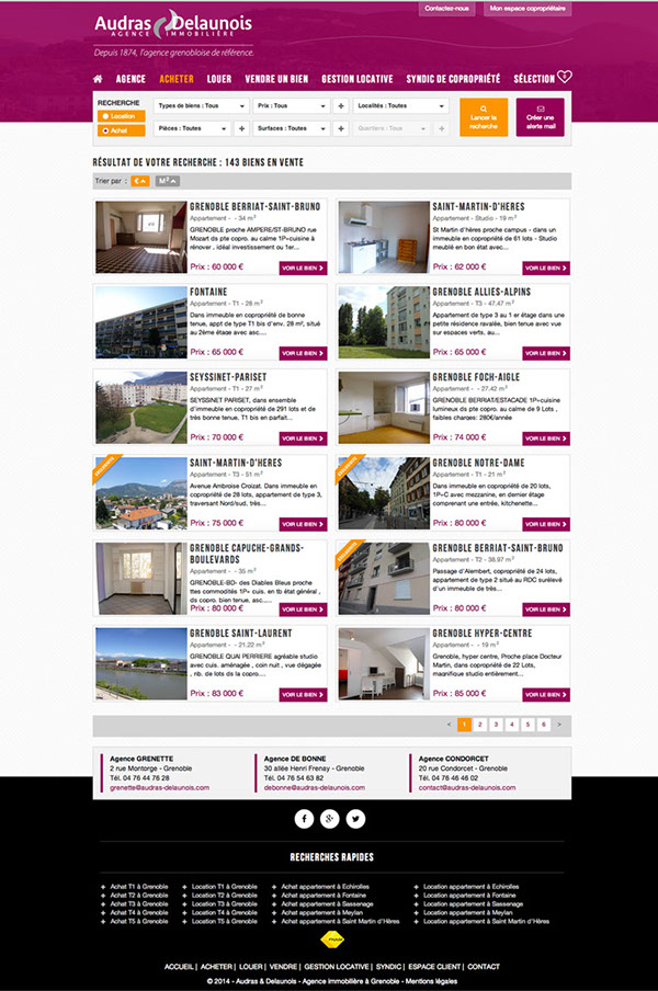 Audras & Delaunois webdesign agence immobiliere