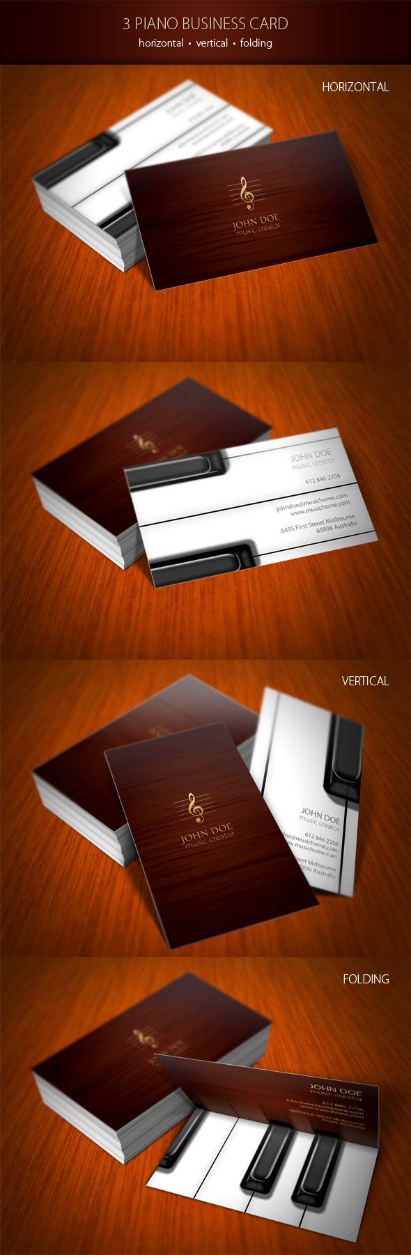 Piano business card brand identity wood creative Original business media studio Sing Singer melody