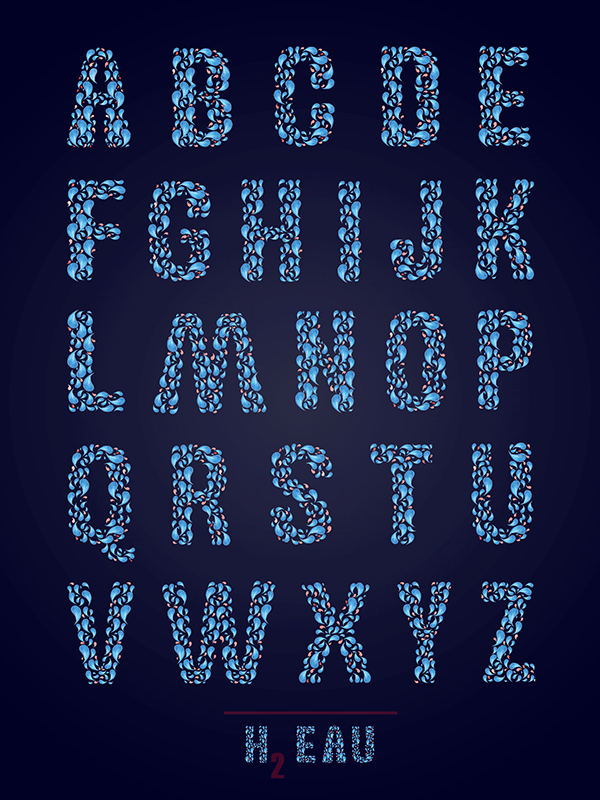 outthewazoo h2eau water aqua poster Typeface waterdrops