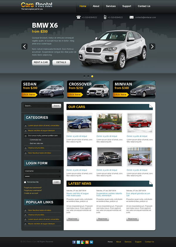 Cars Rental - best engines just for you Joomla Template