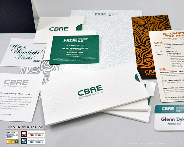 cbre recognition conference full graphics package on behance