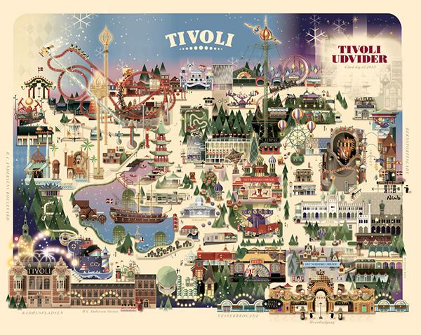 Copenhagen Tivoli - Christmas park map on Behance