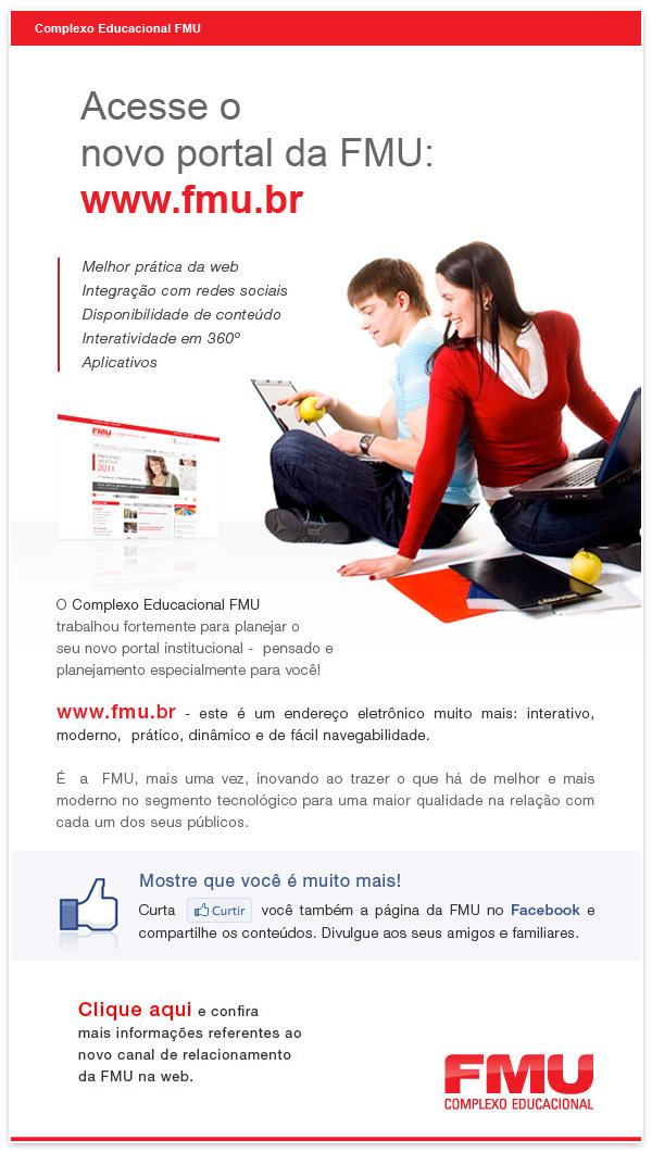 e-mail HotSite cartaz redes social FMU University banner