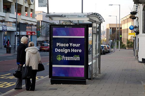 Free Urban Bus Stop Billboard Mockup