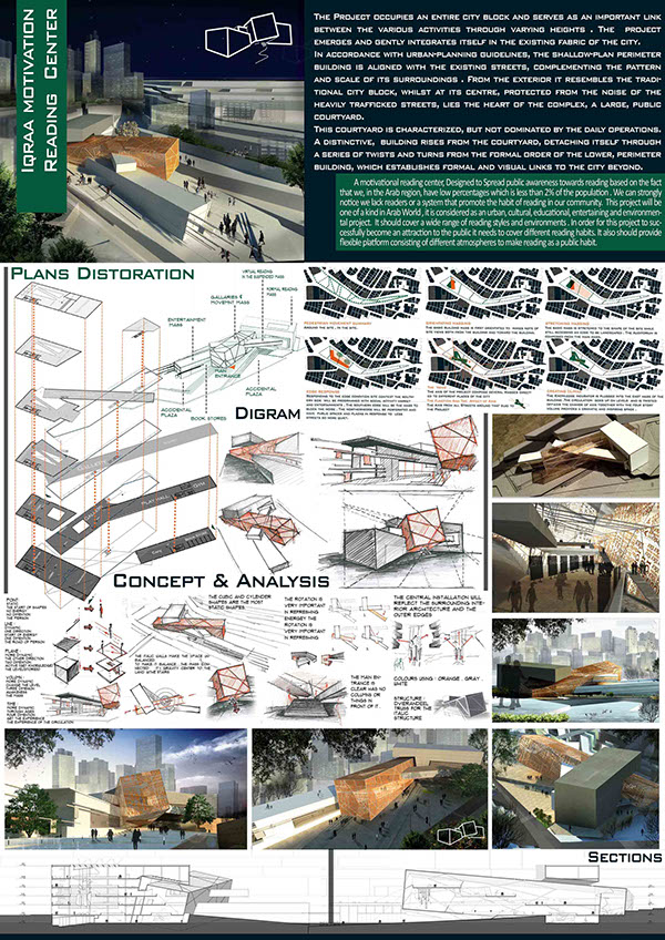 graduation project iqraa library center on behance