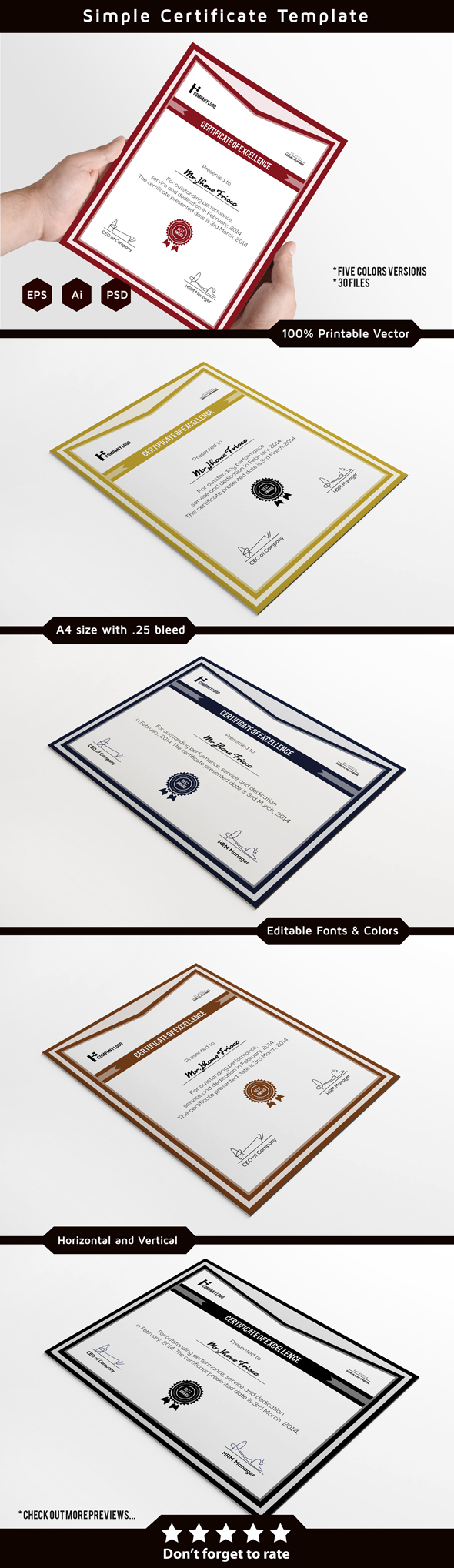 Corporate certificate template on behance certificate template its 100 printable and fully editable available in five color versions and three different file formats with vertical and xflitez Image collections