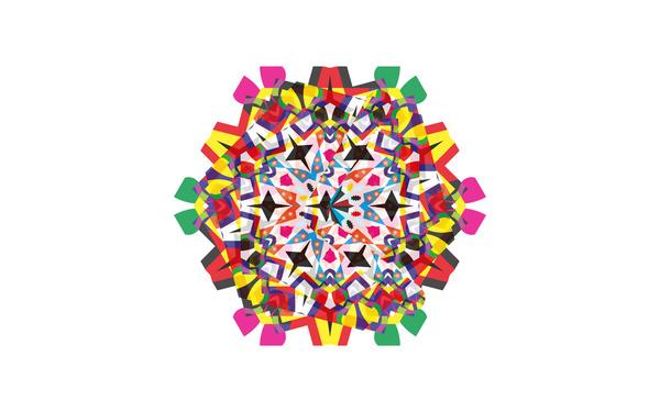 Circus vector Perspective Boomerang perception kaleidoscope psychedelic pattern design  logo