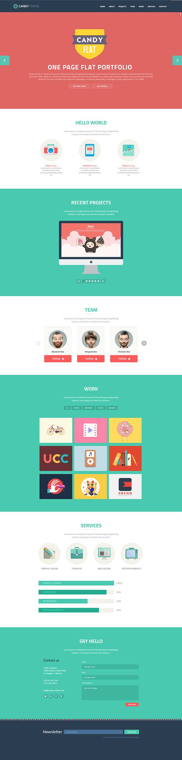 Candy Flat Onepage Responsive Html5 Template On Behance