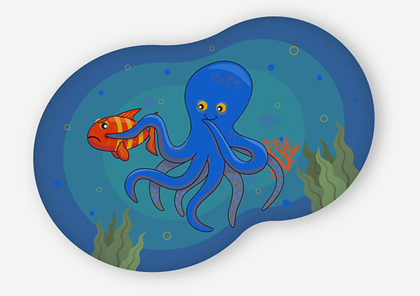 illustration with octopus