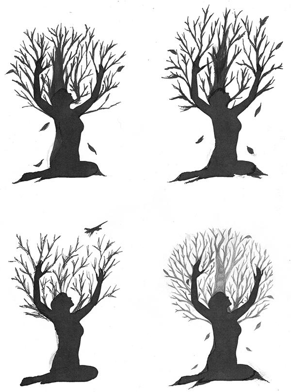 Tattoo design woman tree on behance for Female silhouette tattoo
