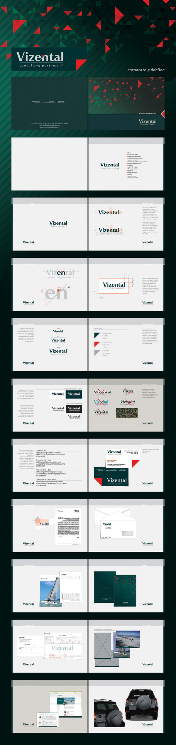 corporate giudeline green red triangle degree 45 usage moneymanagement consulting partners ARAD letterhead business card organizer rav4 Layout