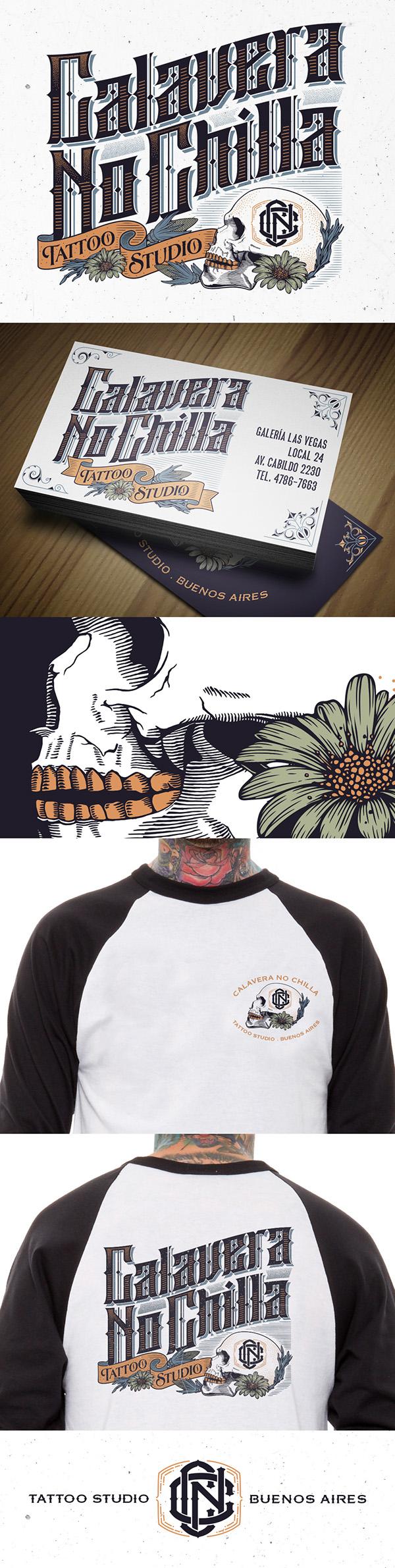Calavera No Chilla Tattoo Studio Branding On Behance