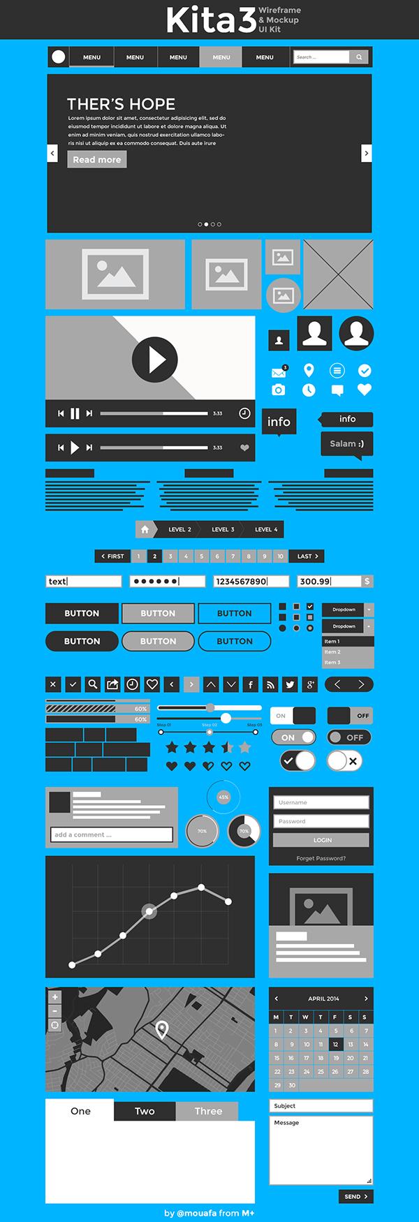 free kita3 UI wireframe Mockup psd download freebie freebies Web design ux