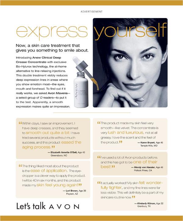 Oprah magazine  avon  print  Magazine   Advertorial  beauty