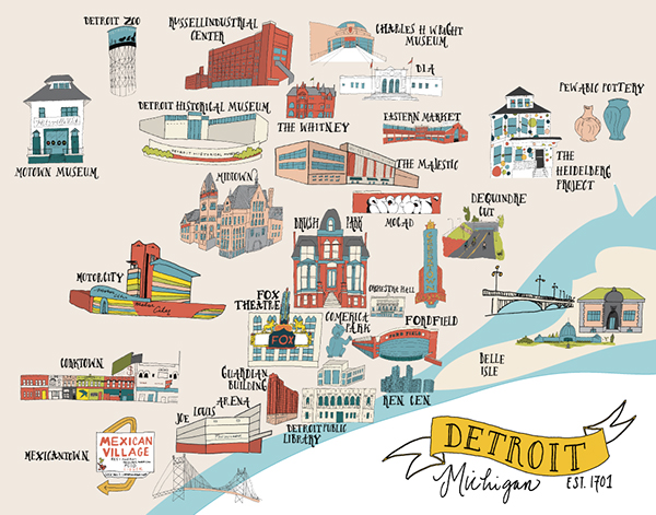 detroit map posters