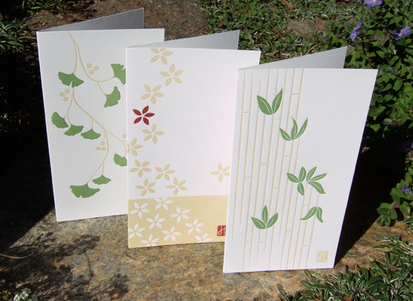 greeting cards letterpress ginkgo bamboo flower wreath red scarf Holiday Christmas season's greetings
