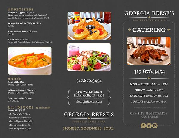 georgia reese s catering tri fold menu on behance