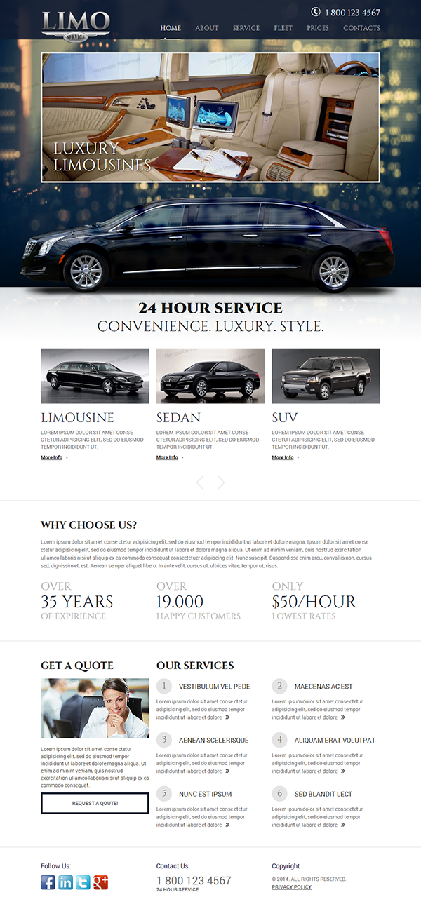 Limo Service Html Template On Behance