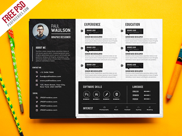 free psd   creative horizontal cv resume template psd on