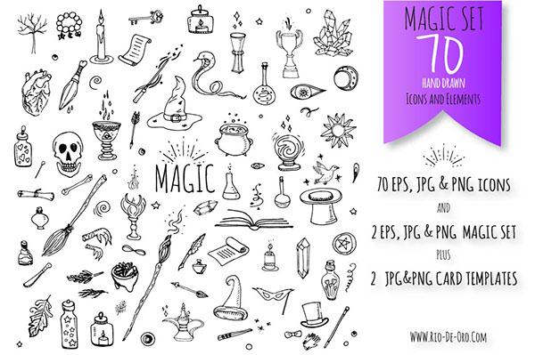 Magic Collection Of Cute Cartoon Wizardry Symbols On Pantone Canvas