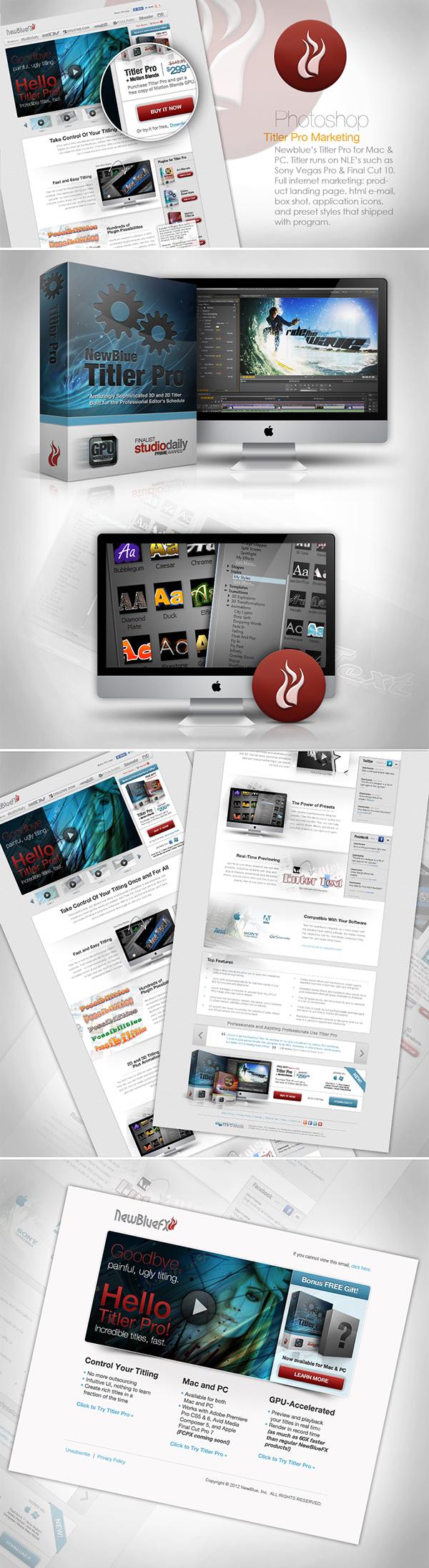 UI user interface  UX landing page marketing   Titler Pro NewBlue