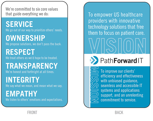 path forward vision mission values card on behance
