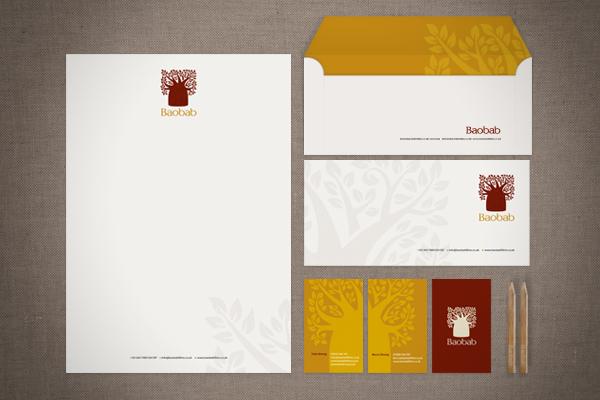 logo Stationery comp slip letterhead business card Tree  baobab sketches