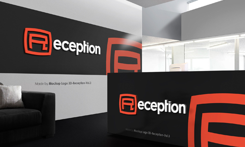 Mock up Logo 3D in Reception Room - Vol.3 on Behance