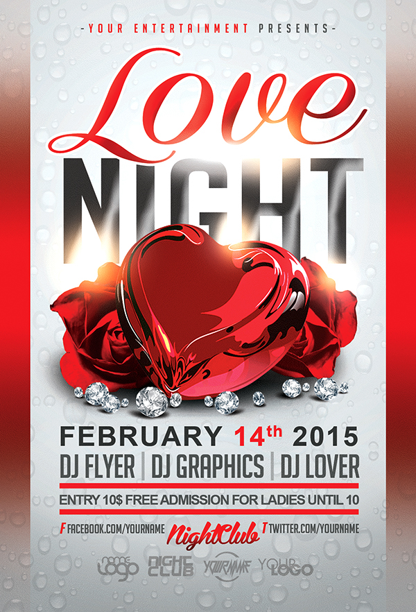 Love Night Valentines Day Free Flyer Template On Behance