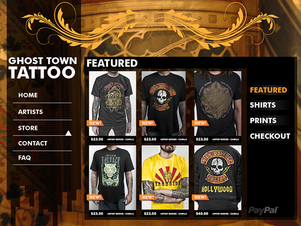 Ghost town tattoo website on behance for Ghost town tattoo