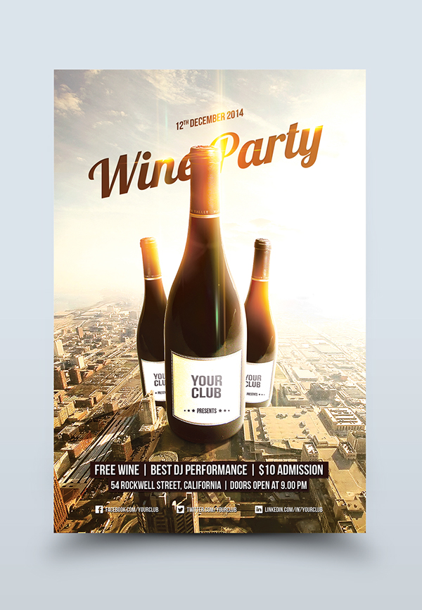 Wine Party Flyer Template On Behance