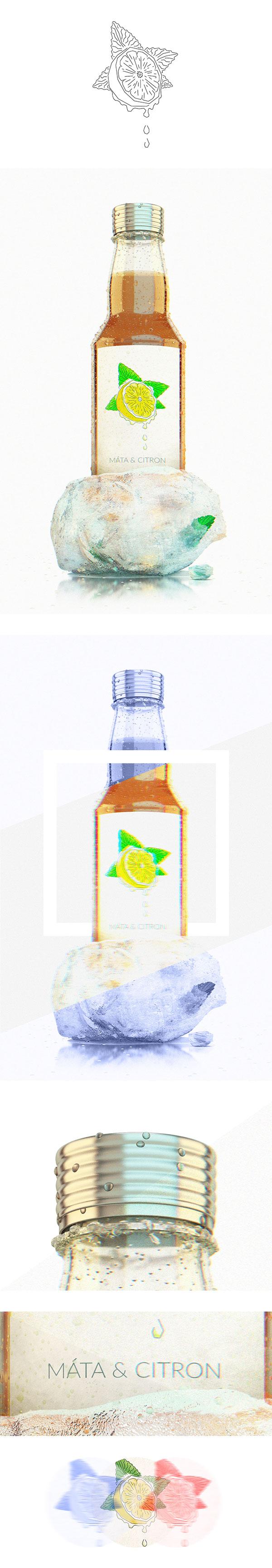 bottle syrup package mint & lemon 3ds max corona Quokka Czech Vizualization