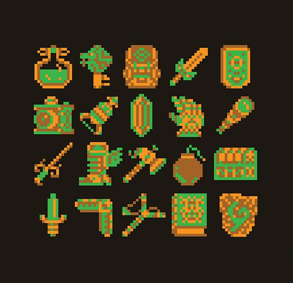 8-bit Zelda Items On Behance
